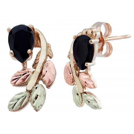 Stunning 10k Black Hills Gold Post Earrings w/ Black Onyx