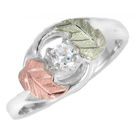 Black Hills Gold on Sterling Silver CZ Ring