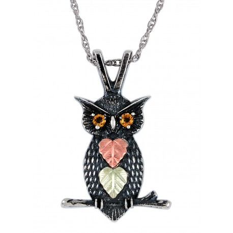 Black Hills Gold on Sterling Silver Oxidized Owl Pendant with Citrine