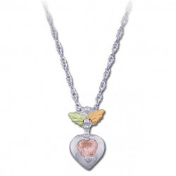 Black Hills Sterling Silver Ladies Pink Cz Heart Pendant Necklace