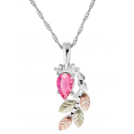 BLACK HILLS GOLD LADIES STERLING SILVER PINK CUBIC ZIRCONIA PENDANT NECKLACE