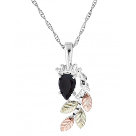 Black Hills Gold on Sterling Silver Onyx Pendant Necklace