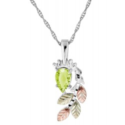 Black Hills Gold on Sterling Silver Peridot Pendant