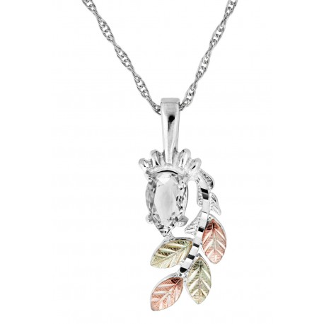 Black Hills Gold on Sterling Silver Clear CZ Pendant