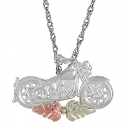 Black Hills Gold on Sterling Silver Mini Motorcycle Pendant