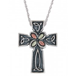 Black Hills Gold on Sterling Silver Oxidized Cross Pendant with 12K Gold Leaves