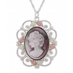 Black Hills Gold on Sterling Silver Cameo Pendant with Woman