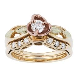 Landstrom's® Stunning Tri-color Black Hills Gold Rose & Diamond Wedding Set