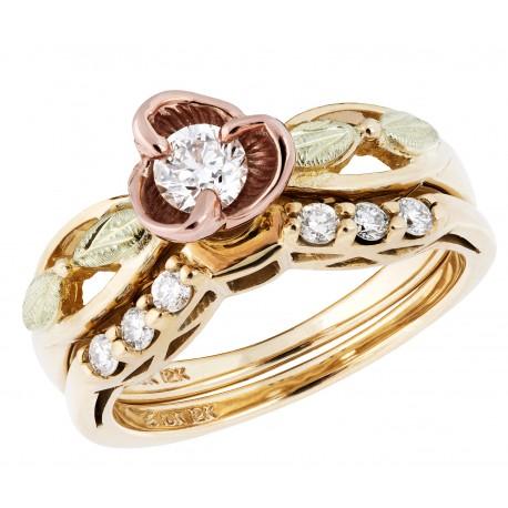 Landstrom's® Tri-color Black Hills Gold Rose & Diamond Wedding Set