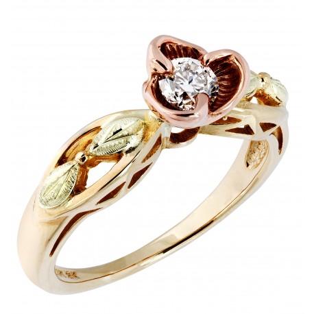 Landstrom's® Tri-color Black Hills Gold Rose & Diamond Engagement Ring