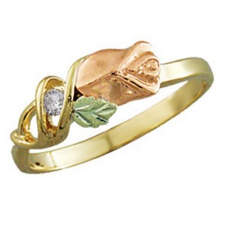 10K BLACK HILLS GOLD .05 TW DIAMOND ROSE RING for LADIES