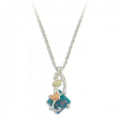 Black Hills Gold .925 Sterling Silver Lab. Blue Opal Ladies Pendant Necklace