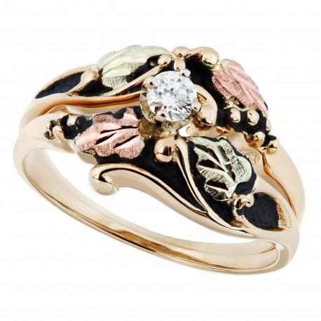 Antiqued Black Hills Gold Diamond Engagement Wedding Ring Set