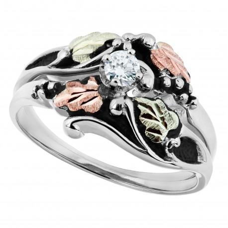 Antiqued Black Hills White Gold Diamond Engagement Wedding Ring Set