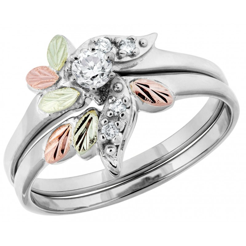 Black Hills White Gold And .21 CT TW Of Diamond Engagement