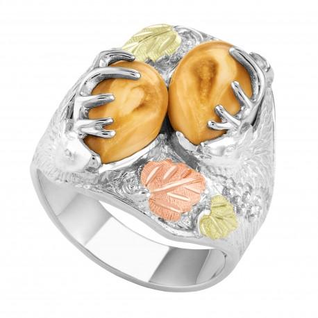 Stunning Elk Ivory Black Hills Gold on Sterling Silver Men's Ring