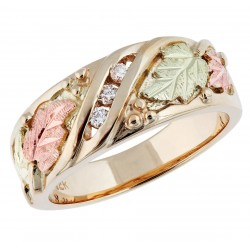 Tri-color Black Hills Gold and Diamond Ladies Wedding Ring