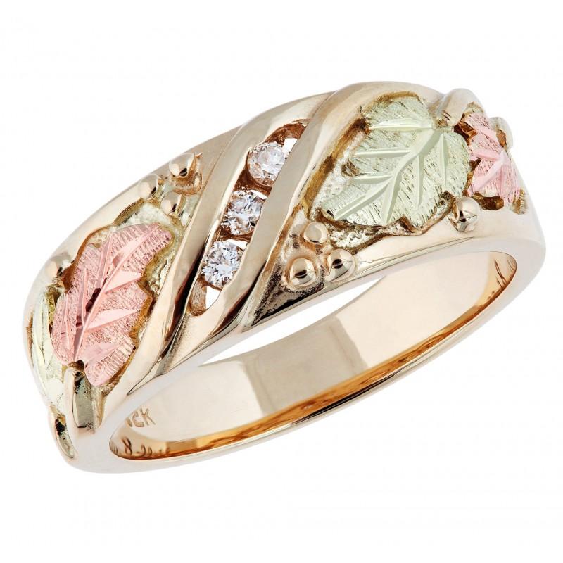 Tri-color Black Hills Gold And Diamond Ladies Wedding Ring