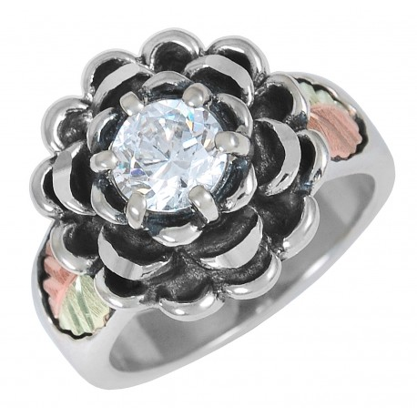 Black Hills Gold on Sterling Silver Flower Ring with Cubic Zirconia