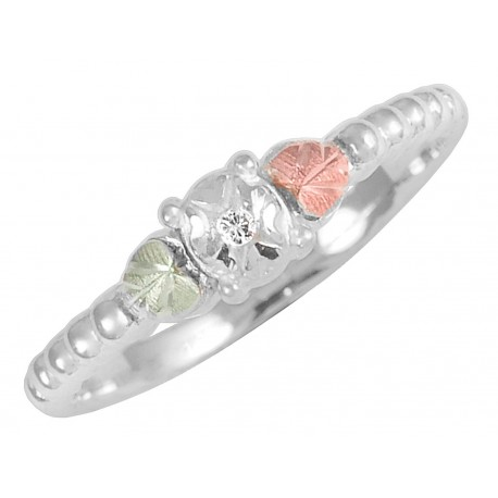 Black Hills Gold on Sterling Silver Ladies Ring with Diamond Accent
