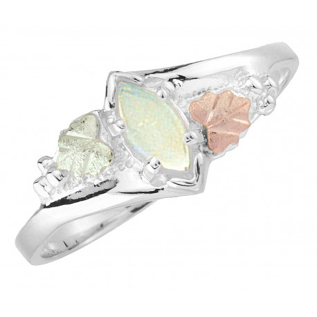 Black Hills Gold on Sterling Silver Ladies Ring with Genuine Opal