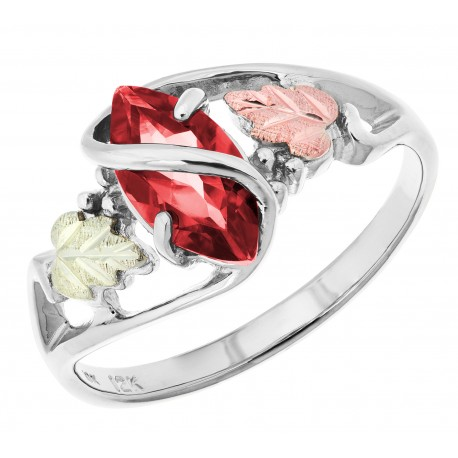 Black Hills Gold on Sterling Silver Ladies Ring with Genuine Garnet