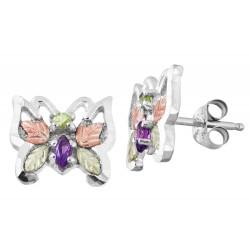 Black Hills Gold on Sterling Silver Butterfly Earrings w Gemstones