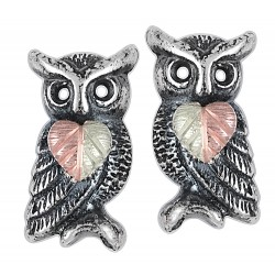 Black Hills Gold on Sterling Silver Oxidized Owl Earrings