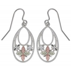 Black Hills Gold on Sterling Silver Oval Dangle Earrings