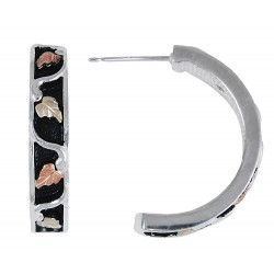 Black Hills Gold on Sterling Silver Antiqued Half Hoop Earrings