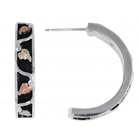 Black Hills Gold on Sterling Silver Antiqued Half Hoop Earrings