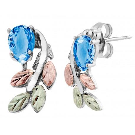 Black Hills Gold on Sterling Silver Earrings w Blue Topaz