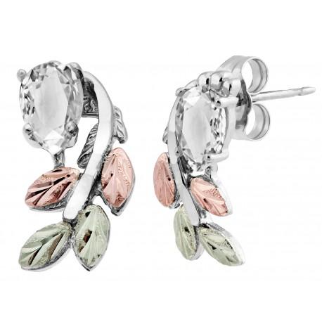 Black Hills Gold on Sterling Silver Earrings w Cubic Zirconia