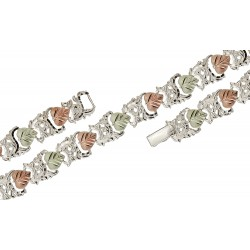 Black Hills Gold on Sterling Silver Bracelet 7 Inch Long