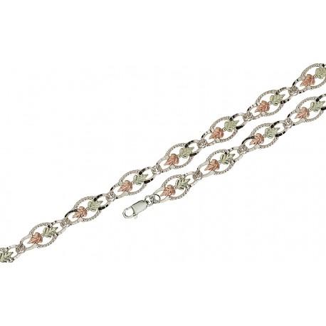 Black Hills Gold on Sterling Silver Bracelet with 12K Gold Leaves