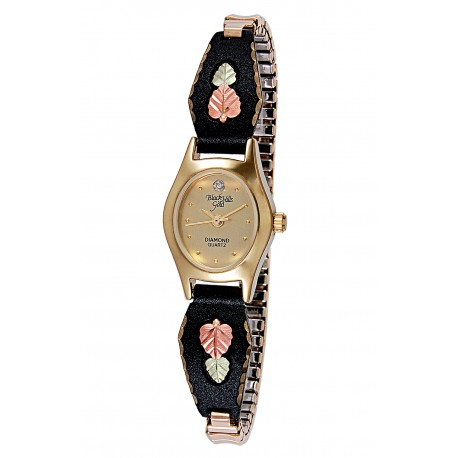 Black Hills Gold on Black Powder Ladies Watch with 12K Gold Leaves
