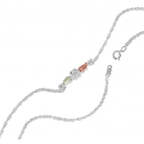 Black Hills Gold on Sterling Silver Ankle Bracelet with Flower