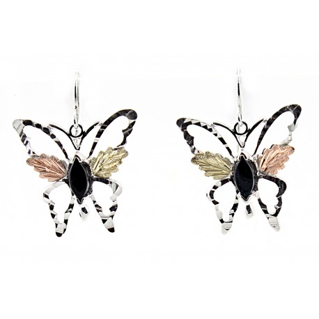 Black Hills Gold on Sterling Silver Butterfly Earrings with Onyx
