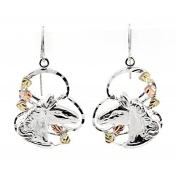 Black Hills Gold on Sterling Silver Horse Head Earrings