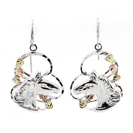 Black Hills Gold on Sterling Silver Horse Head Earrings