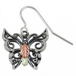 Black Hills Gold Oxidized Sterling Silver Butterfly Earring - One Earring
