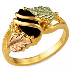 10K BLACK HILLS GOLD ONYX LADIES RING