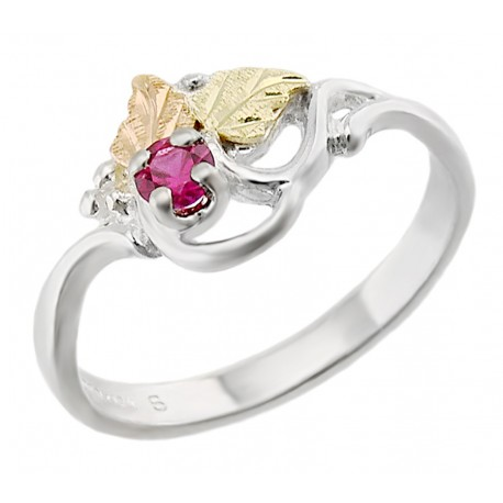 Size 5 Landstrom's® Black Hills Gold on Sterling Silver Ladies Ring with Ruby