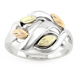 Size 7.5 Stylish Tri-Color Black Hills Gold on Sterling Silver Leaf Ring