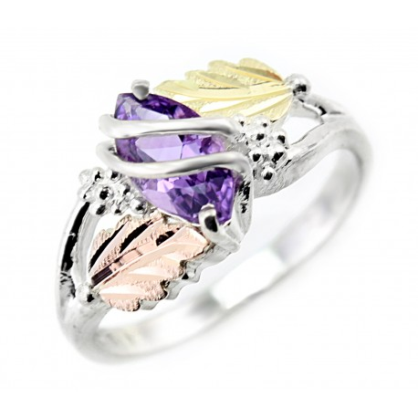 Black Hills Sterling Silver Ladies Ring with Genuine Amethyst