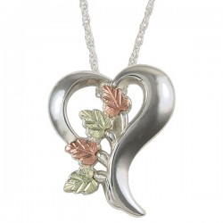 Black Hills Gold Sterling Silver Heart Ladies Pendant Necklace