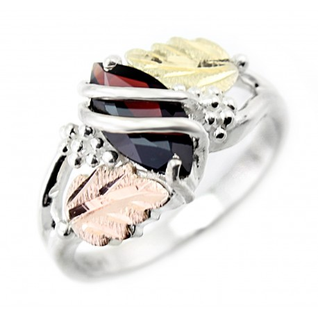 Black Hills Gold on Sterling Silver Ladies Ring with Genuine Garnet