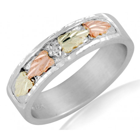 Black Hills Sterling and 12K Gold Wedding Ring for Ladies