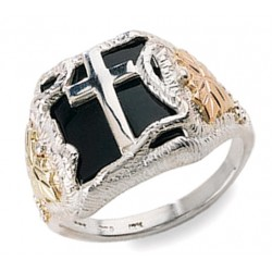 Mens Black Hills Gold on Sterling Silver Cross Ring with Onyx