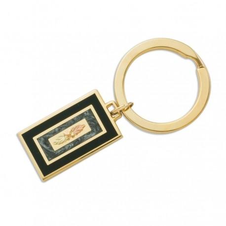 Landstroms Black Hills Key Ring with 10K Gold Leaves